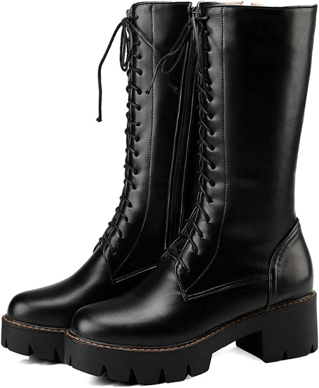 Hoxekle Mid Calf Boot Square Thick Heel Platform Lace Top Round Toe Long Boots Martin Style Black Brown Casual shoes