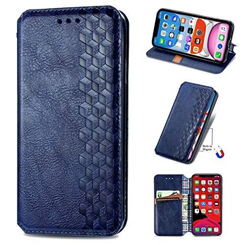 Miagon iPhone XS Max Mode Hülle,Retro PU Leder Flip Brieftasche Abdeckung Magnetverschluss Folio Ständer Kartensteckplätze Handyhülle,Blau