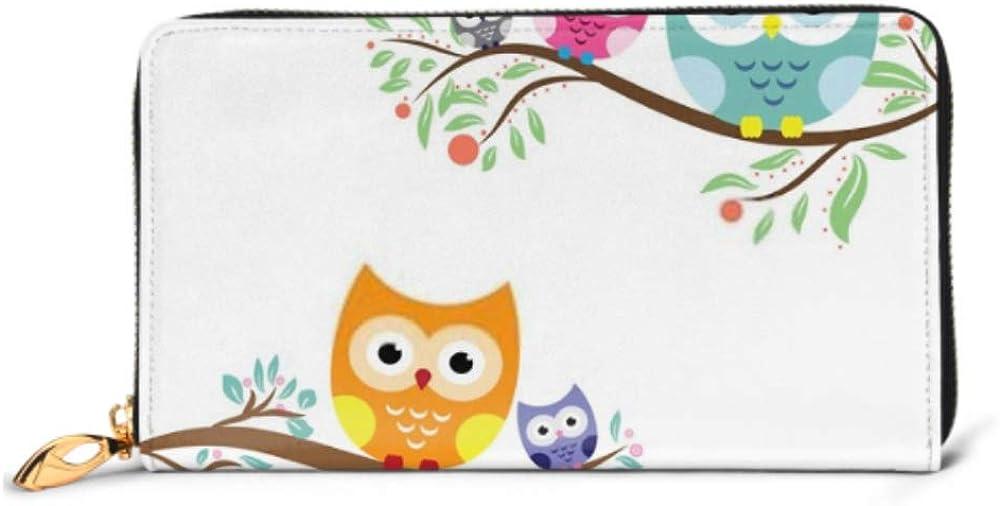 Fashion Handbag Zipper Wallet Owl Cute Vector Phone Clutch Purse Evening Clutch Blocking Leather Wallet Multi Card Organizer