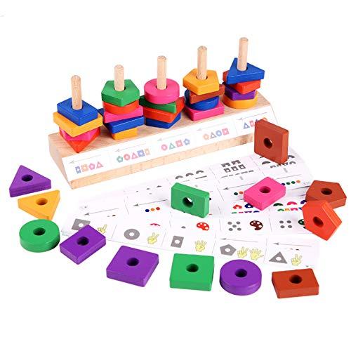 TIREOW Hölzern Memory Match Stick Spiel Spielzeug Block Brettspiel Spielzeug Bauen, Holz Fünf Sätze Säule Matching Game Block Kinder Puzzle Lernspielzeug