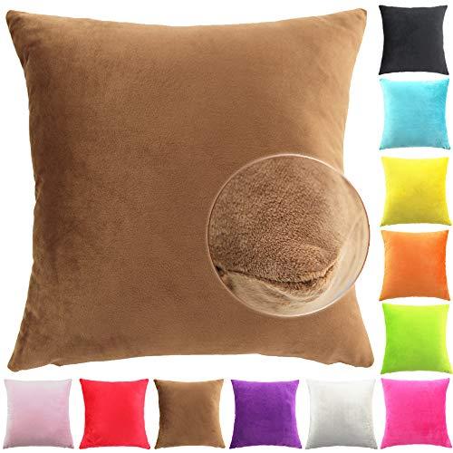 Easondea Fundas de Cojín de Color sólido Square Decorativos para Sofá Cama Coche Fundas Cojines Funda de Almohada Marrón 40X40CM