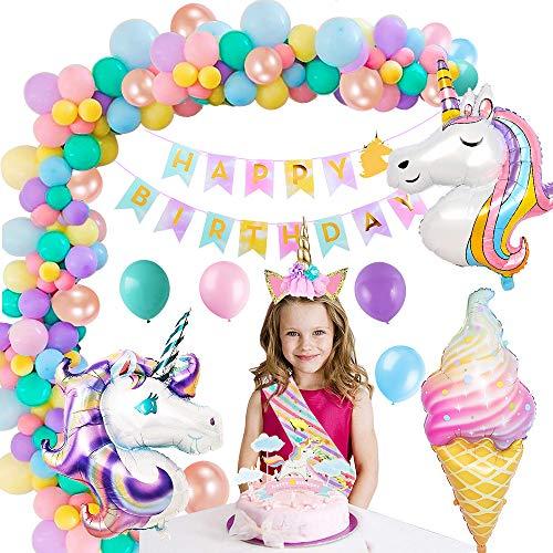MMTX Unicornio Decoración de Cumpleaños para Niña Suministros Fiesta de Cumpleaños Banner 3D Globo de Unicornio Globos de Látex Unicornio Banda de Satén Torta de Cumpleaños Unicornio Favores