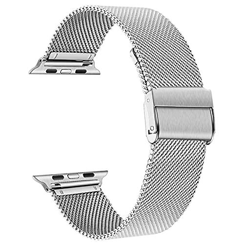 baklon Compatible con Apple Watch Correa 44mm 42mm, Pulsera de Repuesto de Acero Inoxidable Hebilla de Metal para iWatch Series 6 5 4 3 2 1 SE (42mm/44mm, Plata)