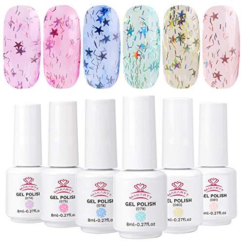 Makartt Gel Nagellack Jelly Glitter Set, Glitter Color Nail Art Gel Nail Polish für Nagelstudios oder Hausgebrauch mit Geschenbox