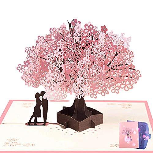 NACTECH Pop-up Tarjeta Amor 3d Tarjeta de Felicitacion Cumpleaños Tarjetas Felicitacion Boda Aniversario Invitacion Regalo para San Valentín sin texto con sobre, 15 x 20 cm