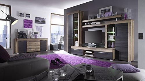 trendteam BM87259 Sideboard Wohnzimmerschrank Nussbaum-satin, Absetzungen dunkelbraun Touchwood Nachbildung, BxHxT 176x79x40 cm - 5