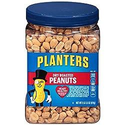 PLANTERS Dry Roasted Peanuts, 34.5 oz. Resealable Jar | Peanuts with Sea Salt | Peanut Snacks | Shar