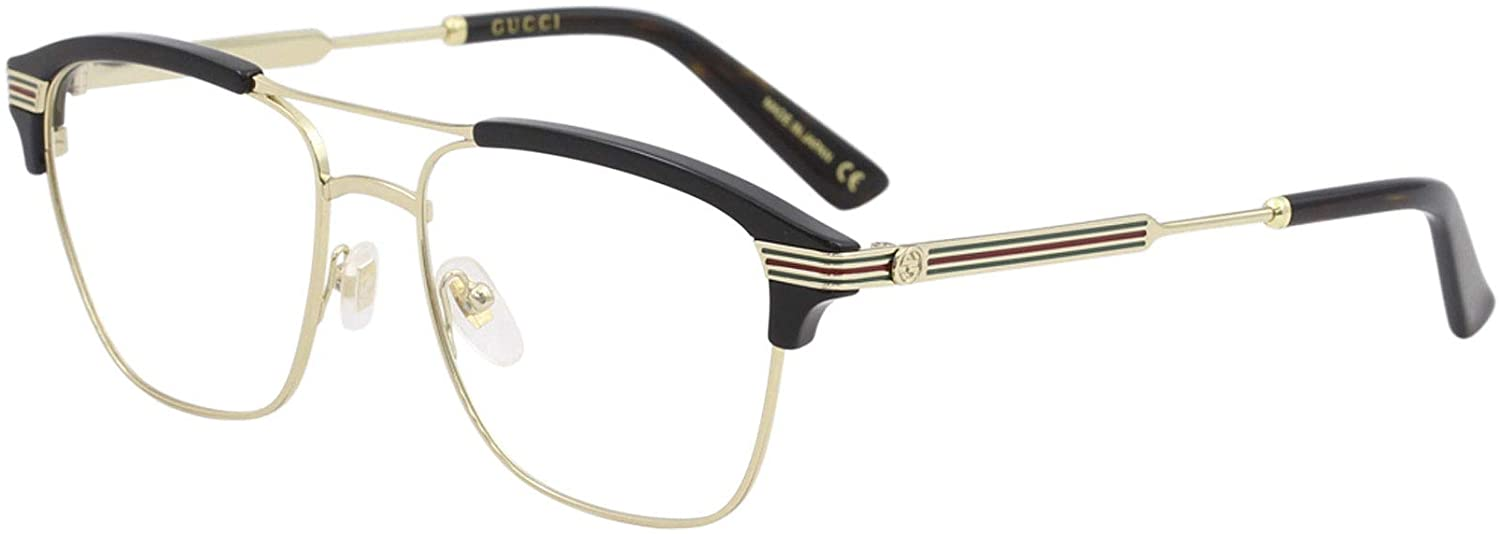 Gucci GG 0241O 002 Discount mail order Gold Plastic Eyeglasses Black Max 61% OFF Rectangle 54mm