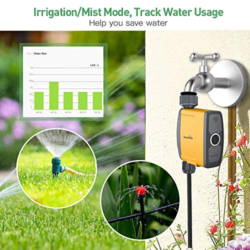RAINPOINT Sprinkler Timer with Wi-Fi Hub, Smart Watering Timer Programmable Water Timer Hose Faucet Timer, Wireless Remote Control Irrigation System with Water Flow Meter, for Outdoor Yard, Garden