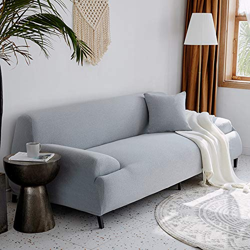 Jacquard Sofa Cover for 3 Cushion Couch,Stretch Sofa Slipcover,Non Slip Couch Cover for Dogs,Pet Couch Protector Furniture Light Gray 92-118in