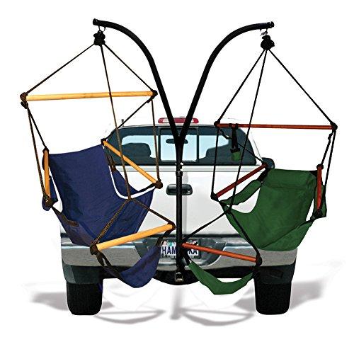 Hammaka Hammocks Trailer Hitch Stand with Wood Dowels Cradle Chair Combo Blue/Green