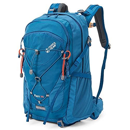Terra Peak Flex 30 - Zaino da trekking 30 l, con chiusura lampo YKK e rete traspirante 3D Air Mesh in poliestere Premium per il sistema di idratazione e con cintura Blu 36L