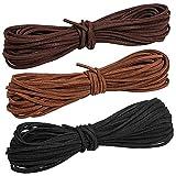 CTGVH Paquete de 3 cuerdas de cuero de gamuza de 3 mm, cordón de cuero...