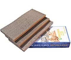 Material:natural heavy duty corrugated cardboard. Size:17.7x 7.8x 3.1 inch/45cm*20cm*8cm. Contains 3 scratchers, two curved and one flat. Our scratchers cardboards size fit most kitty, even the big kitty. Includes a bag of catnip.