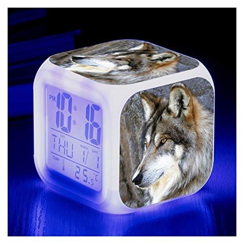 JIAHAOJJ Liefern Tier Wecker Wolf Tiere Kinder Beleuchtet LED Leuchtende Nacht Wecker Mit Licht Wecker Geburtstagsgeschenke Für Wolfkreative Farbe Neue Kleine Wecker ( Color : 6 )