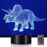 YAMTION Dinosaur 3D Night Lights for Boys Girls, 16 Colors Illusion Table Lamp with Remote Control, Dimmable and Flashing Mode Adjustable, LED Visual Nightlight for Kids Gifts