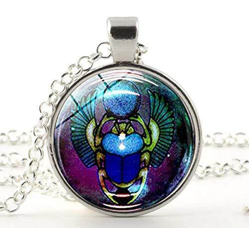 Escarabajo egipcio con cuentas redondas de cristal colgantes collares, joyería antigua regalo – Reborn Eternity