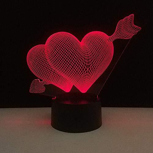 3D Smash Through The Heart Lampe LED 7 Couleur Nuit Lumière Atmosphère Lampe Lampe de table Lampe de chevet Décoration de Chambre Enfants Cadeaux Jouets