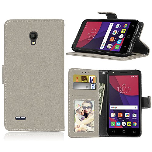 SATURCASE Alcatel One Touch Go Play/Conquest Hülle, Retro Mattiert PU Leder Magnetverschluss Brieftasche Standfunktion Schutzhülle Handy Tasche Hülle für Alcatel One Touch Go Play/Conquest (Grau)