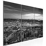 Runa Art Istanbul 603132c - Cuadro de pared (3 piezas), diseño de silueta de Turquía, color blanco y negro