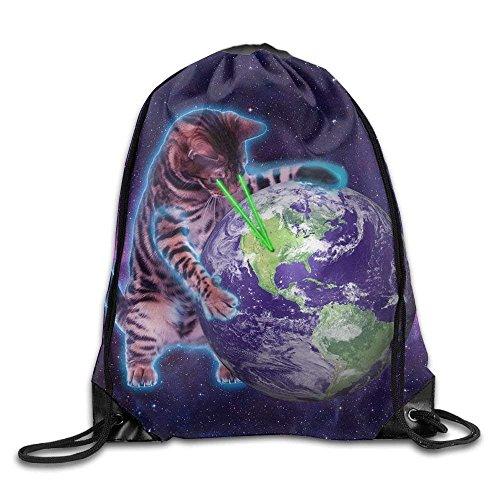 Yuanmeiju Galaxy Cat Laser Basic Mochila con cordón Workout Sackpack for Men & Women School Travel Bag Galaxy Cat Laser