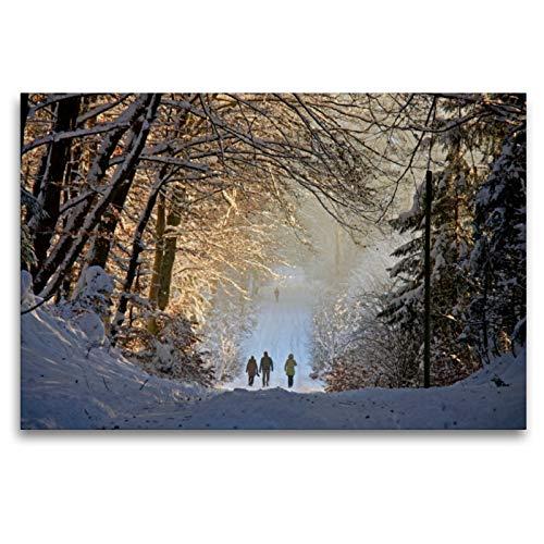 CALVENDO Premium Textil-Leinwand 120 x 80 cm Quer-Format Winter im Ebersberger Forst, Leinwanddruck von Geotop Bildarchiv