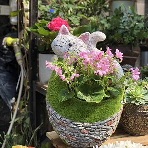 Maceta Creativa Conejo Gato Cactus Planta suculenta Maceta Plantador de Flores Decoración de jardín Musgo Artificial, Gato