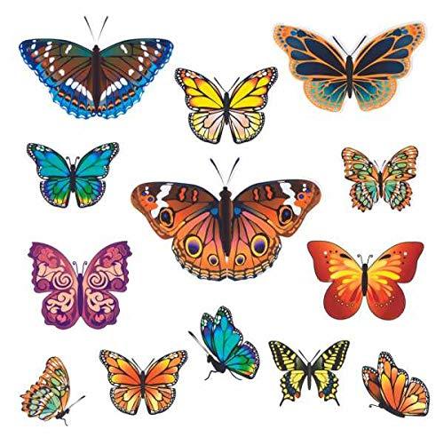 WENKO Fensterbild Schmetterlinge, 13-teilig Schmetterlinge Schmetterling Sommer Dekoration Frühling Hortensie