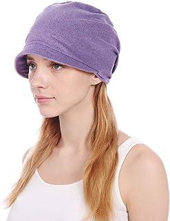Guoo Womens Slouchy Stretch Beanie Hat Turban Chemo Hat Cotton Beanie Visor Cap Baggy