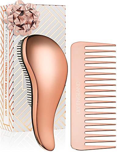 Detangler Bürste & Entwirr Haarbürste ohne Ziepen in Roségold mit Stielkamm | ideale Anti-Ziep Bürste & Entwirrbürste für lange Haare mit Toupierkamm | für dünnes & dickes Haar, Lily England
