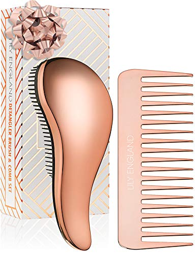 Lily England Detangling Hairbrush and Comb Set - Best Detangler Brush for Wet, Dry, Curly, Women & Kids Hair with Wide Tooth Comb (Rose Gold)