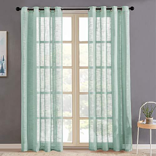 MRTREES Sheer Curtains Linen Textured 84 inch Length Green Sheers Bedroom Slub Open Weave Sliding Glass Door Semi Curtain Panels Living Room Grommet 2 Panels Window Treatment Set
