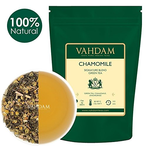 Kamille mit grünen Teeblättern aus dem Himalaya (100 Tassen) 200g | 100% Natürlicher Kamillentee - Beruhigend, Erfrischend & Entspannend, Schlafenszeit Tee, Green Tea