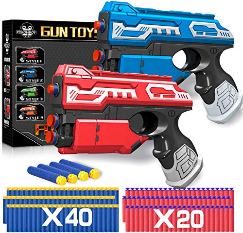 POKONBOY 2 Sets Blaster Toy Guns for Boy, Foam Bullet Toy Gun with 60 PCS Refill Darts for Kids 5 6...