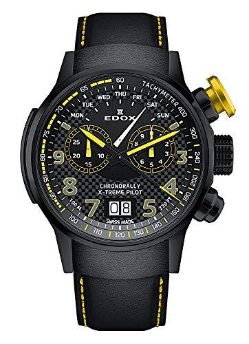 EDOX Herren-Armbanduhr Chronorally X-Treme Pilot Großdatum Wochentag Chronograph Analog Quarz 38001 TINNJ NJ3