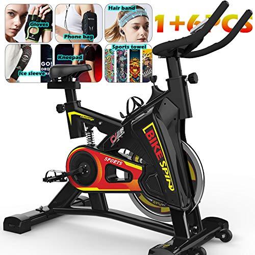 YYBF Bicicleta Estática De Spinning Profesional, Bicicleta Spinning Indoor, Ajustable Resistencia, Pulsometro, Ergonómica, Cardio Trainer, Gift Set 6 Piezas,Negro