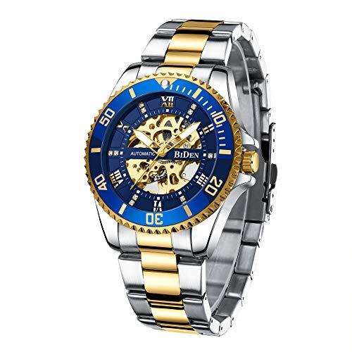 Automatische mechanische Herrenuhren Skelett Automatik mit Datum Modische Uhr für Mich (Blaues Gold)