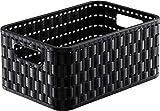 Rotho Country Aufbewahrungskorb 4 l in Rattan-Optik, Kunststoff (PP), schwarz, 4 Liter / A6 (23,7x15,8 x 10,8 cm)