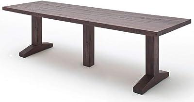 PEGANE Table à Manger en chêne Massif, patiné laqué - L.400 x H.76 x P.120 cm