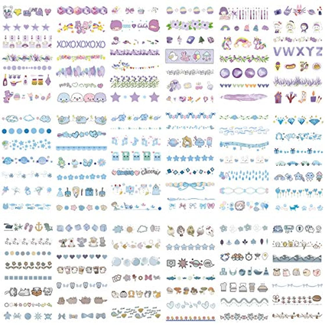 Cute Washi Sticker Set (18 Sheets) Cloud Planet Fish Elephant Musical Note Diamond Car Floral Bow Whale Bird Bunting Stationery Stickers DIY Handmade Label for Scrapbook Journal Arts Craft