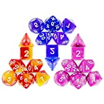 CiaraQ DND Dice Set, Polyhedral Dice Set Great for Dungeons and Dragons, D&D Dice Games, RPG MTG Table Games with Drawstring Pouch. Double-Color Dice. 8