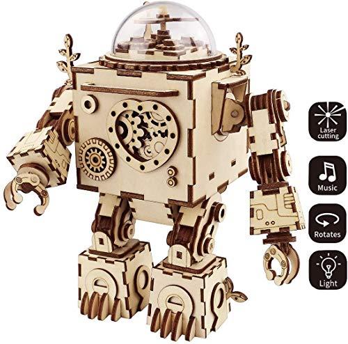 3D houten puzzel Music Box Craft Toys Best Gifts for Men Vrouwen Kids Machinarium DIY Robot Cijfers met licht voor Kerst Verjaardag