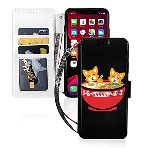 LINGF Funda para teléfono,Kawaii Japanese Anime Corgi Dog Funda para iPhone 11 Pro Funda Linda para Mujeres Hombres Funda de Cuero con Correa Funda Protectora