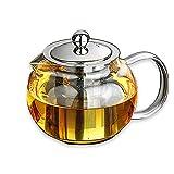 Tetera de cristal segura y sin plomo, capacidad de 1 L, infusor de acero inoxidable extraíble, ideal para preparar té de hojas sueltas y florecientes.