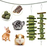 Rabbits Natural Wooden Amusement Toys Small Animals with Wooden Chew Teeth Care Molar Toys Guinea Pig and Accessories Syrian Hamster FJNATINH 12 Pack Hamsters Chew Toys Set