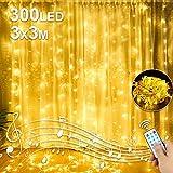 Luces de Cadena de Cortina,3x3 300 LED Cortina de Luces USB Impermeables IP44 8 Modos Cadena de Luz Blanco Cálido, para Ventanas,Balcón,Partido,Día de San Valentín,Navidad,Bodas