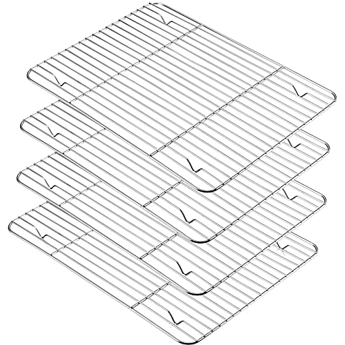 P&P CHEF Baking Rack Set of 4, Stainless Steel Wire Racks for Cooling Baking Cooking Drying, Rectangle 15.3''x11.25''x0.6'', Non-toxic & Heavy Duty, Oven & Dishwasher Safe