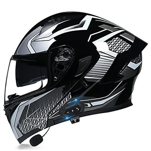 LI DANNA Casco Bluetooth De Motocicleta De Cara Completa para Hombres Y Mujeres, Casco De Flip Aprobado por Dot con Doble Visera, Sistema De Comunicación Integrado MP3 Incorporado,G-M