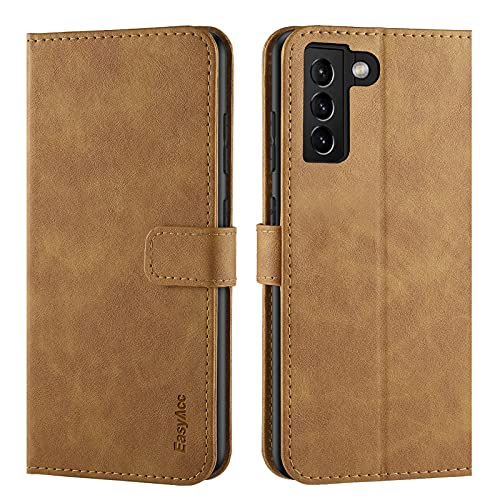 EasyAcc Hülle Hülle Kompatibel mit Samsung S21 4G 5G, PU Leder mit Kartenhalter & Faltbare Tasche Handyhülle mit Standfunktion Brieftasche Handy Schutzhülle, Braun