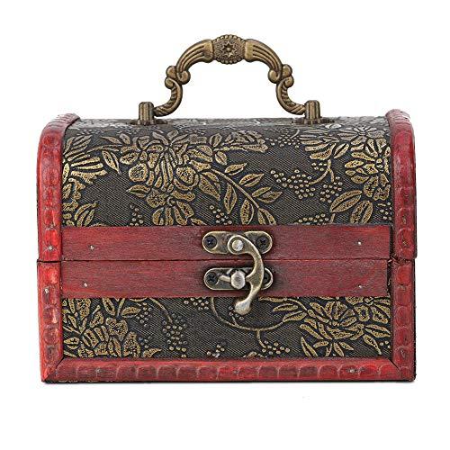 Caja de almacenamiento de joyería cuadrada vintage hecha a mano caja de exhibición decorativa de madera hecha a mano